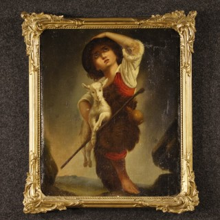 19th Century French Painting Shepherd Boy With Goat Oil On Canvas