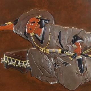 Remarkable japanese mixed metal samurai tray by murasakibara toshiyoshi lapada - Japanese remarkable ...