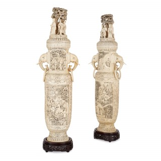 Large pair of Chinese Qing dynasty antique ivory vases