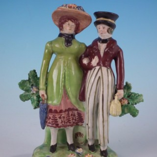 Staffordshire Pearlware bocage 'Dandies' figure group