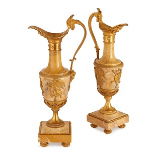 Pair of Empire style French antique marble vases