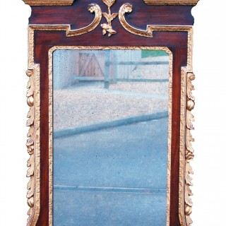 Antique 18th Century Mahogany And Gilt Mirror