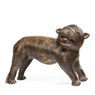 Indian bronze model of a lion