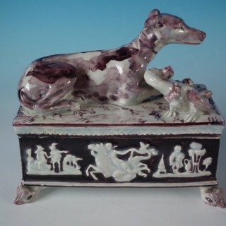 Staffordshire Pearlware Greyhound Box and Cover