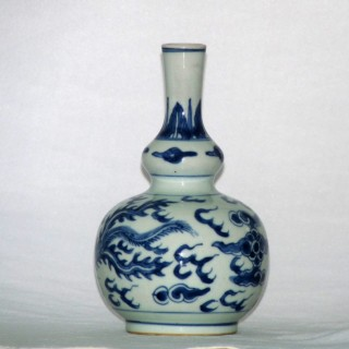 Kangxi Blue and White Double Gourd Bottle Vase