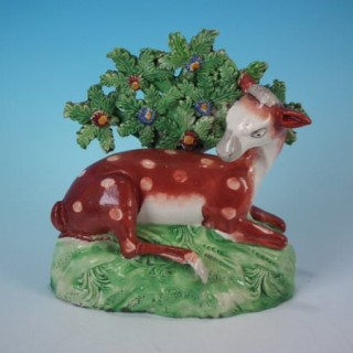 Staffordshire Pearlware Deer with Bocage Figure