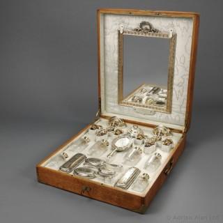 Louis XVI Style Silver-Gilt and Cut-Glass Travel Nécessaire