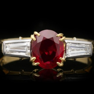 Art Deco pigeon blood Burmese ruby and diamond ring, circa 1930.