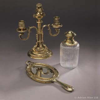 Louis XVI Style Silver-Gilt and Cut-Glass Travel Nécessaire