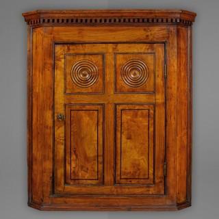 George III Period Ash hanging corner cupboard