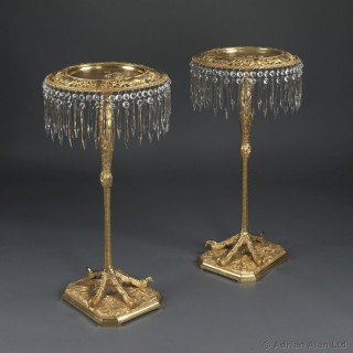 Pair of Gilt-Bronze Gueridons Cast With Ostrich Leg Supports