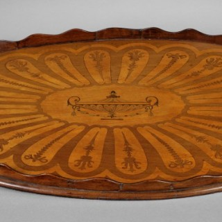 Late 19th. Century Oval Inlaid Mahogany Tray with two handles