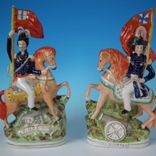 Pair Staffordshire 'Simpson & Brown' Generals on horseback