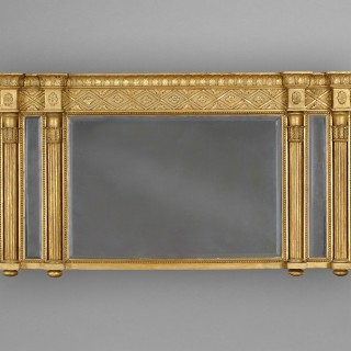 Regency Period Carved Gesso Gilt Overmantle Mirror with double reeded columns