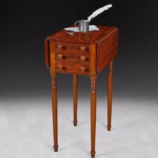 Regency Mahogany Drop Leaf three drawer Pembroke Work Table