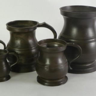 Five mid 19th. century Pewter Measures from a quart to a half gill.