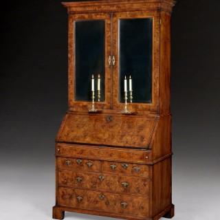 Queen Anne period Burr Walnut Bureau Cabinet
