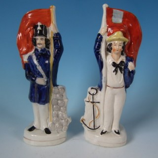 Pair Staffordshire Sailor&Soldier double sided figures
