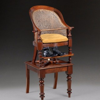 William IV Period Mahogany Child's Bergere Chair on Table