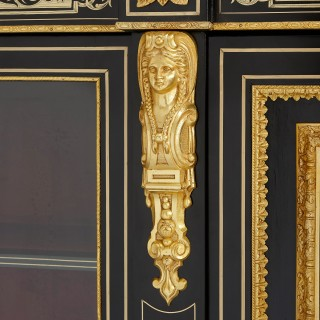 Ormolu and Boulle ebonised wood antique vitrine cabinet
