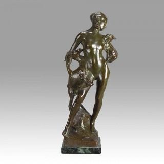 Goatherd Art Deco bronze