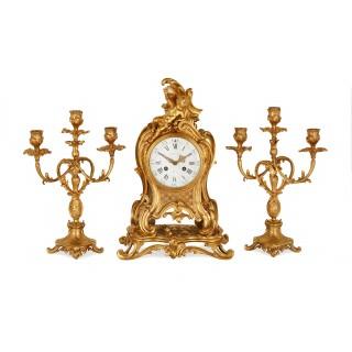Louis XVI style ormolu three piece clock set by Barbedienne