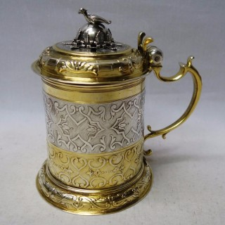 Antique Augsburg Silver Lidded Tankard