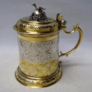 Antique Augsburg Silver Lidded Tankard