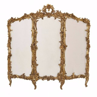 Ormolu and carved giltwood Rococo style antique folding screen