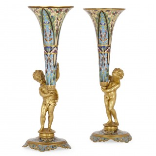 Pair of ormolu and champlevé enamel antique French vases