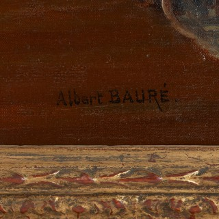 'The Music Lesson', antique oil painting by Albert Bauré