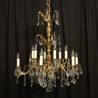 Italian Bronze & Crystal Antique Chandelier