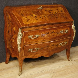 20th Century French Inlaid Bureau In Louis XV Style