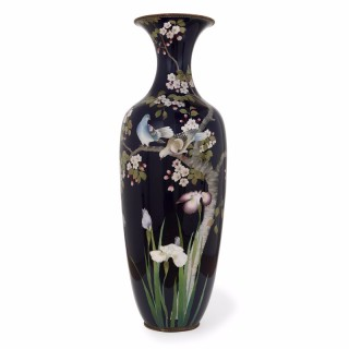Large antique Meiji period cloisonné enamel Japanese vase