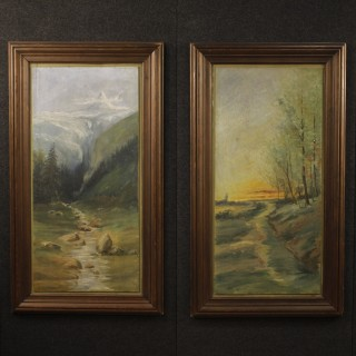 20th Century Pair Of French Landscapes Paintings With Wooden Frames