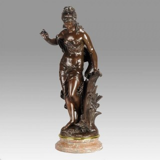 'Jeune Femme à  l'Oiseau' Art Nouveau Bronze