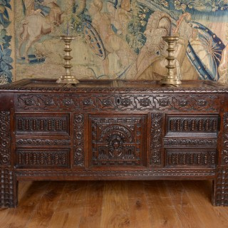 James I oak carved chest