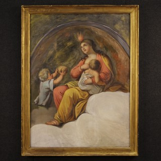 19th Century French Religious Painting Oil On Canvas With Frame