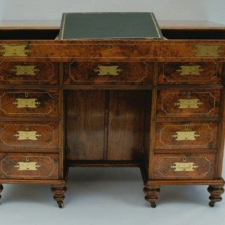 Rare Antique 'Chinese Export' Campaign Desk in Teak and Amboyna