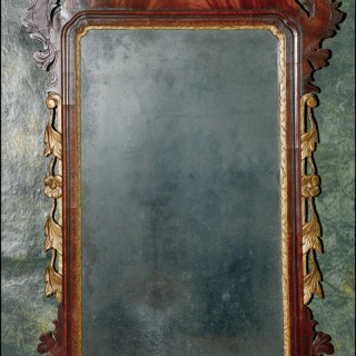 Chippendale period mahogany & gilded wood wall mirror