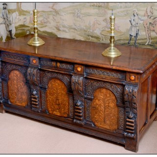 Elizabethan oak and marquetry chest