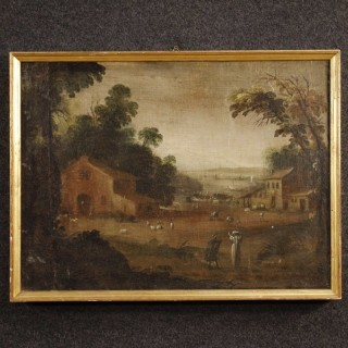 18th Century French Painting Landscape With Figures