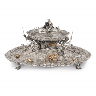 Silver and silver gilt antique Italian table fountain