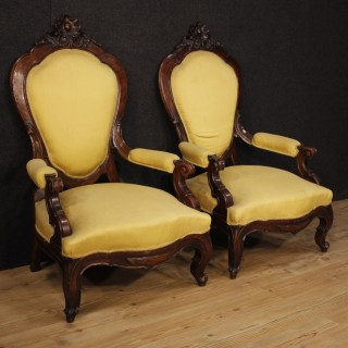 19th Century Pair Of Sicilian Armchairs In Walnut Wood Covered In Fabric