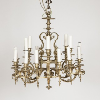 Gilt bronze 18 light chandelier