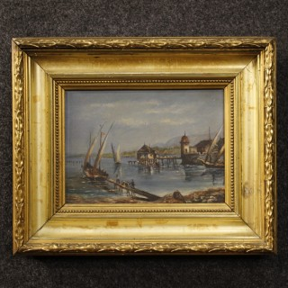 20th Century French Painting Oil On Panel Lake Landscape