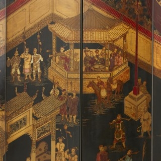 Lacquered and ebonised wood six panel Chinese folding screen