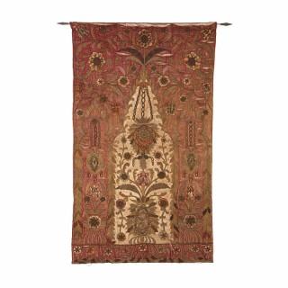 Red silk satin 18th Century embroidered prayer rug