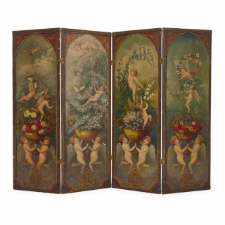 Antique French folding screen painted in the Romantic style