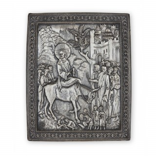 Russian silver icon depicting Christ entering Jerusalem
